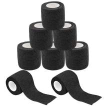 "Self Adhesive Tape - Yuelong 8Pack 2"" x 5 Yards Self-Adherent Cohesive Tape Tattoo Grip Wrap Cover Strong Sports Tape, Black Self-Adhesive Bandage Rolls,Athletic Tape"