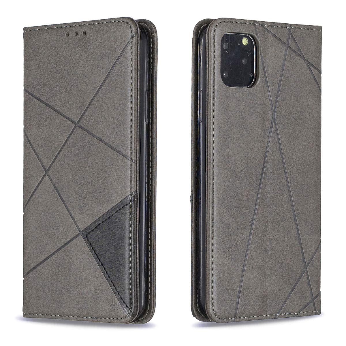 SDB Wallet Case for iPhone 11 Pro Max Case Card Holder Flip Kickstand PU Leather Fashion Stripe Protective Cases Cover with Lanyard Hole Compatible with iPhone 11 Pro Max 6.5 inch 2019, Grey