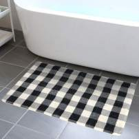 HAOCOO Bathroom Rugs 20x31 inch Black and Beige Buffalo Plaid Velvet Bath Mat Non-Slip Modern Geometric Bath Rug Soft Luxury Microfiber Machine-Washable Floor Rug for Tub Shower