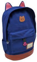 AM Landen Blue Super Cute CAT Ears Backpack School Bag Travel Backpack (Large)