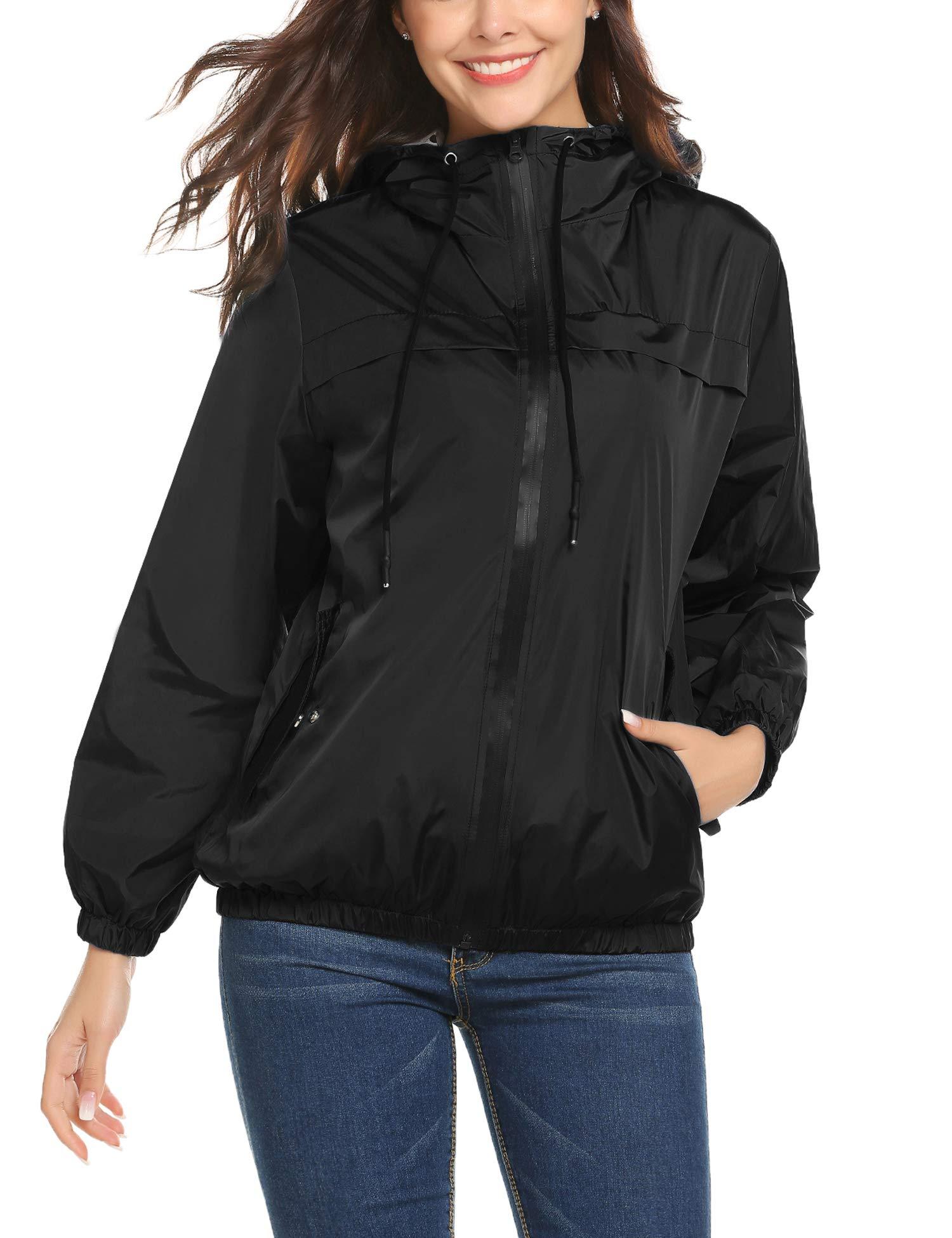 LOMON Womens Rain Jacket Lightweight Waterproof Hooded Raincoat Active Outdoor Windbreaker