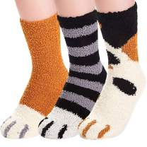 Fuzzy Socks for Women Cute Cat Paws Claw Warm Cozy Fluffy Socks Indoor Sleep Floor Socks for Home Winter 3, 5 Pairs