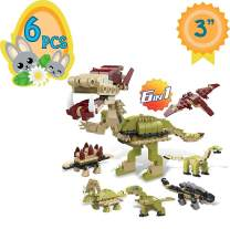 """Totem World 6 Filled Easter Egg Building Toys - Dinosaur Set - Age 6-12 Learning Educational Inside 3"""" Large Plastic Egg - Great for Dino Easter Basket Stuffers - Combine to Build a Tyrannosaurus"""