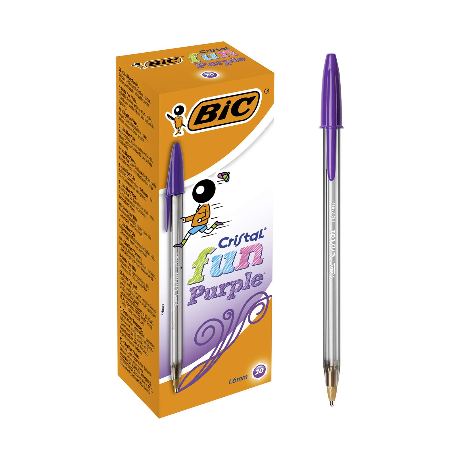 BIC Cristal Fun Ballpoint Pens Wide Point (1.6 mm) - Purple, Box of 20