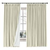 "ChadMade Drape Blackout Curtain Linen Cotton Drapery 85% Blackout Solid Pinch Pleated Curtain Bedroom Living Room Family Room, 72"" W x 84"" L (Beige, 1 Panel)"