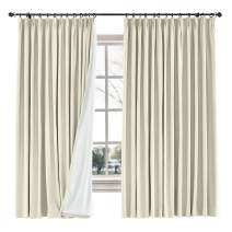 """ChadMade Drape Blackout Curtain Linen Cotton Drapery 85% Blackout Solid Pinch Pleated Curtain Bedroom Living Room Family Room, 72"""" W x 84"""" L (Beige, 1 Panel)"""