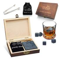 MAKHISTORY Whiskey Stones Gift Set - 9 Granite Chilling Whiskey Rocks - Velvet Storage Pouch and Stainless steel Tong in Wooden Gift Box
