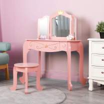HOMFY Kids Vanity Table and Chair Wooden Vanity Set with Mirror Pretend Play Makeup Dressing Table with Drawer Pink