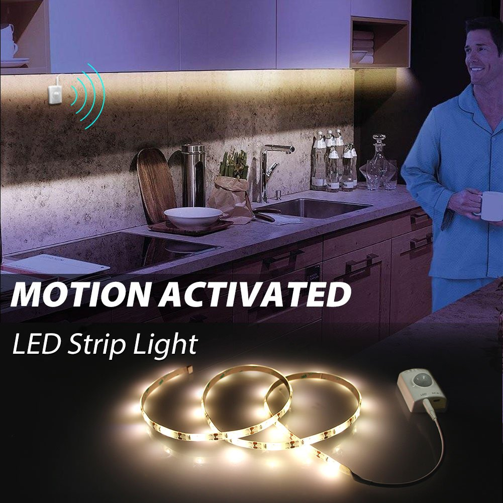 Closet Lighting with Motion Sensor, Motion Activated LED Strip Lights Kit for Cabinet Closet,Kitchen Counter,Bathroom, Under Bed, Laundry,Wardrobe [ Rechargeable 1100 Mah Battery, 39 Inch ]