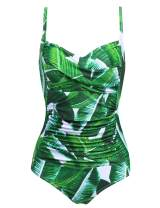 Ekouaer Womens One Piece Swimsuit Elegant Inspired Vintage Pin up Monokinis Tummy Control Swimwear Shirred Bathing Suits