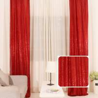 TRLYC 2pcs Sparkly Sequin Fabric Window Curtains/Drape/Panels/Window Treatment Sets 2x8FT Red