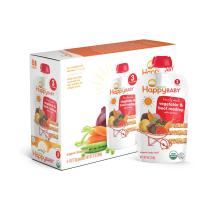 Happy Baby Organic Stage 3 Baby Food Hearty Meals Vegetables & Beef Medley w/ Quinoa, 4 Ounce Pouch (Pack of 8) Baby Food Pouches, 2g Fiber, Rich in Vitamin A, Non-GMO Gluten Free No Added Sugars