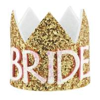 Bridal Shower Crown Decorations Mini Glitter Bridal Hair Accessories Elastic Headwear Headbands for Women, Bachelorette Party Hats Wedding Bridal Shower Photo Booth Props Games, Gifts for Bride-Gold