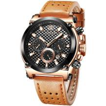 OLEVS Men's Watch,Chronograph Luminous Quartz Watch Dress Watch for Men with Date Calendar Rose Gold Watch with Big Face,Brown Black Blue Leather Watch 2020