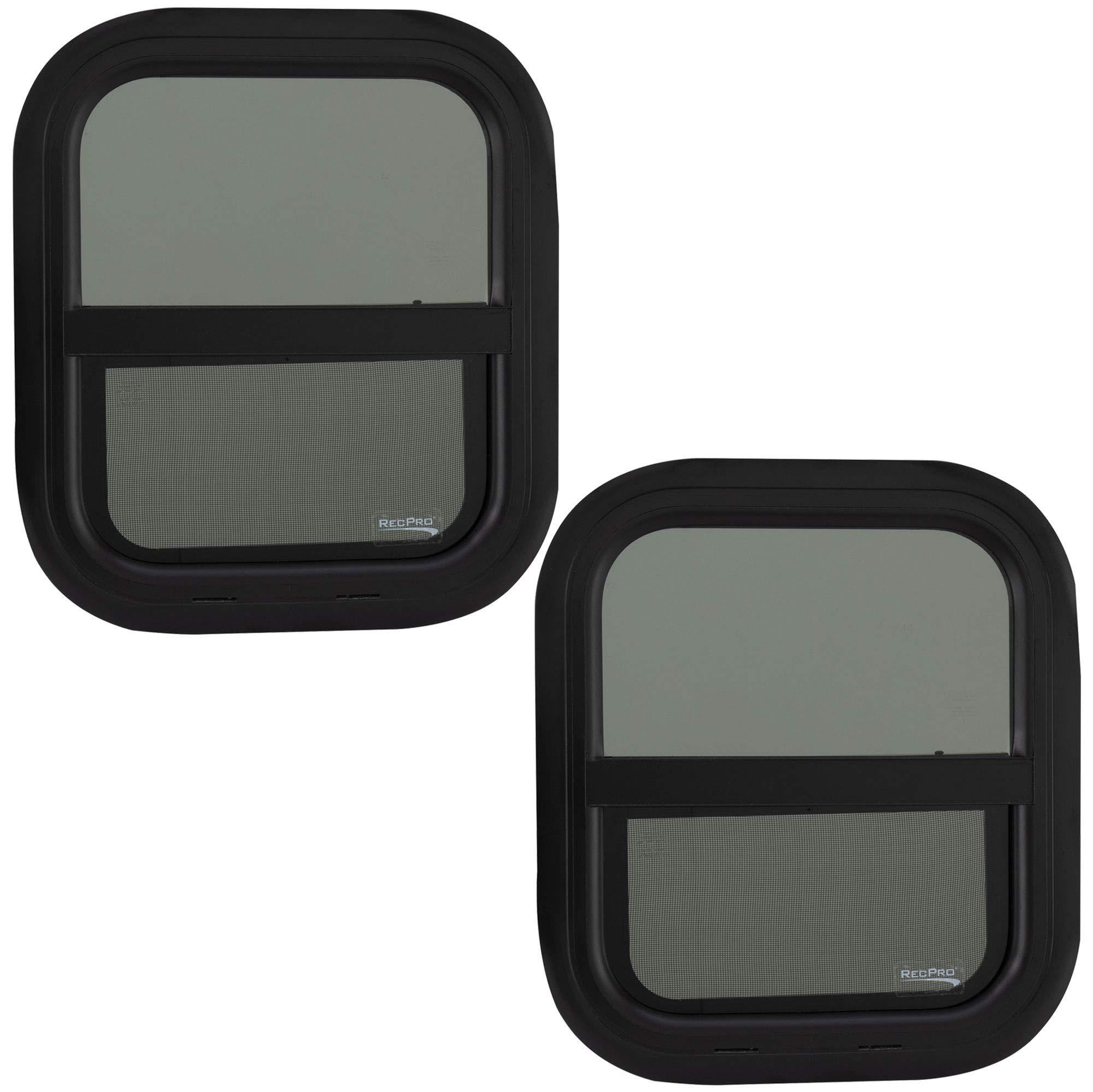 "RV Window | Teardrop 14"" W x 16"" H Vertical Slide | 1 1/2 Wall Thickness | RV Window Replacement (2 Windows, with Trim Kit)"