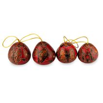 NOVICA Artisan Handmade Decorative Mate Gourd Christmas Holiday Ornaments, Butterflies' (Set of 4)