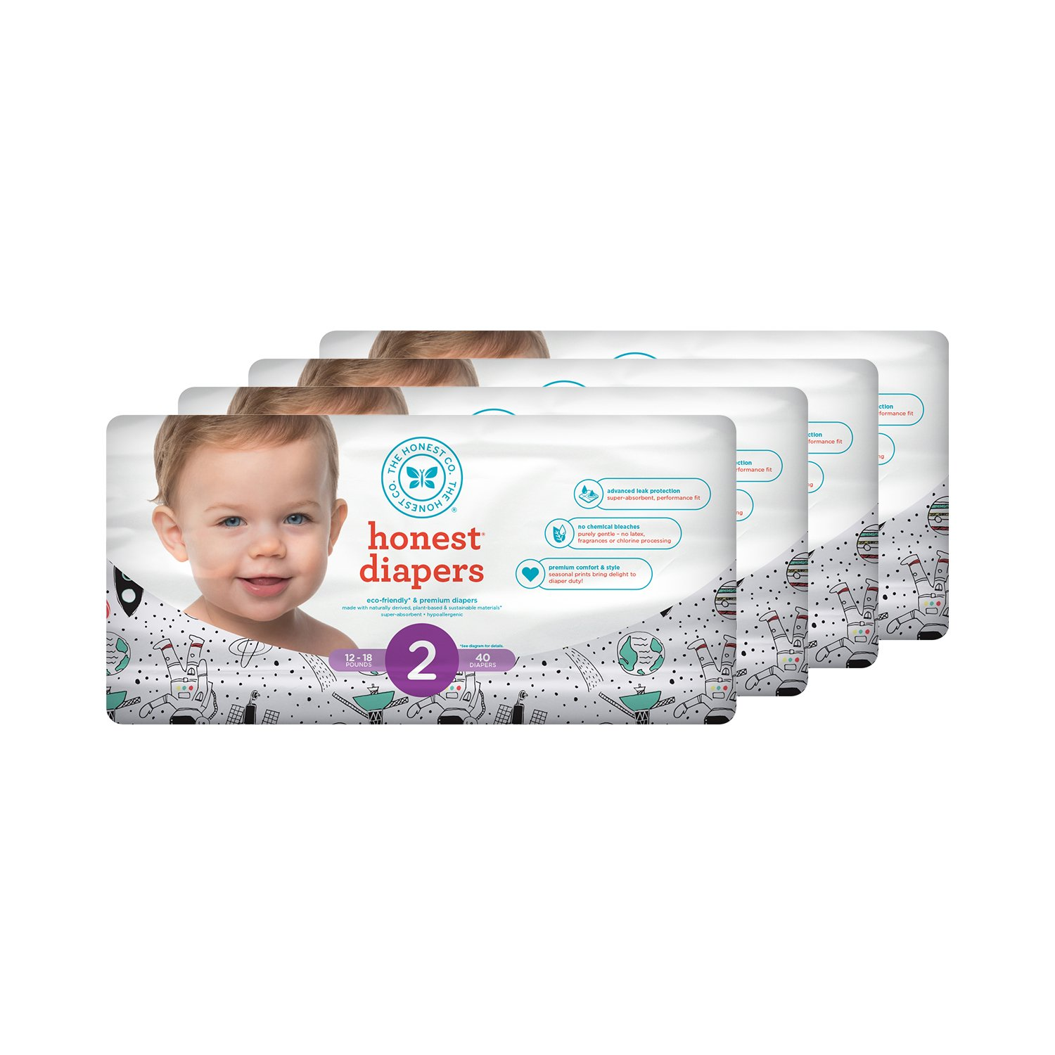 Honest Baby Diapers, Space Travel, Size 2 (160 Count)