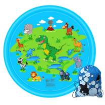 Satkago Funny Inflatable Sprinkler Sprinkle Play Mat Pad Outdoor Water Toy with Storage Bag for Children Kids Toddlers 170cm Diameter Blue
