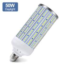 Super Bright 50W (350W Equivalent 5000Lumen) LED Corn Light Bulb, E26/E27 Medium Base, 6500K Daylight White, for Indoor Outdoor Large Area Lighting, Garage Factory Warehouse Backyard, Basement
