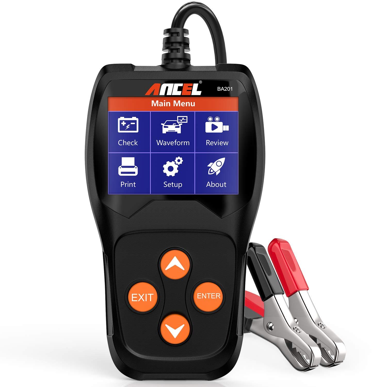 ANCEL BA201 Car 12V 100-2000 CCA Battery Load Tester Automotive Starter Cranking Alternator Charging System Digital Analyzer Auto Bad Cell Test Tool - Black