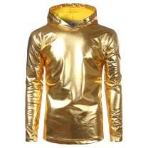 Boyland Men's Hoodies Pullover Metallic Long Sleeve Slim Fit Fashion Hooded Sweatshirt Nightclub Party 2 Color