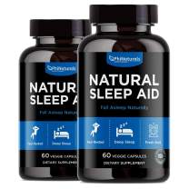 Natural Sleep Aid with Melatonin – 60 Count (Pack of 2) GABA and Valerian Root | Passion Flower & Hops | Skullcap & Chamomile | Supplement for Adults to Fall Asleep Fast – Sleeping Pills Alternative