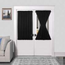 DWCN French Door Curtains – Rod Pocket Thermal Blackout Curtain for Doors with Glass Window, Kitchen and Patio Doors for Privacy, 54 X 40 Inch Length, 2 Curtain Panels with Tieback, Black