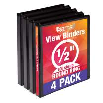 Samsill Economy 3 Ring Binder Organizer, .5 Inch Round Ring Binder, Customizable Clear View Cover, Black Bulk Binder 4 Pack, Model Number: MP48510