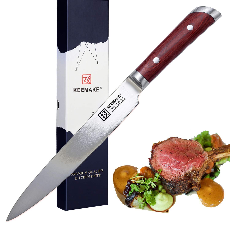 "KEEMAKE Carving Knife-8""Slicing Knife-German High Carbon Stainless Steel-Ergonomic Handle-Multi Purpose Kitchen Knife-Veggie & Meat Slicer"