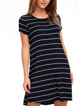 SUNNYME Women's Striped Tshirt Dress Summer Dresses Short Sleeve Loose Casual Plus Size Dress