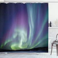 """Ambesonne Aurora Borealis Shower Curtain, Exquisite Atmosphere Solar Starry Sky Calming Night Image, Cloth Fabric Bathroom Decor Set with Hooks, 70"""" Long, Blue Mint"""