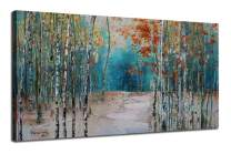 """Ardemy Canvas Wall Art Tree White Birch Picture Painting One Panel Blue Forest Landscape Nature Artwork Prints, Modern 40""""x20"""" Framed for Home Office Living Room Bedroom Bathroom Wall Decorations"""