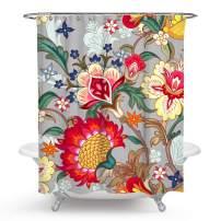 chengsan Flowers Shower Curtains,Tropical Colorful Flowers Blossom Butterfly Décor Bath Curtain Durable Fabric Bathroom Curtain with Hooks (72x72 inch, 10)
