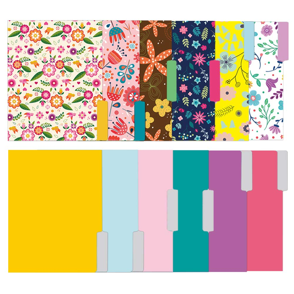 File Folders Letter Size - 12 Pack Stationary Decorative File Folders in Bright Colors & Flora Designs - Colored File Folders - 9.5 x 11.5 Inches