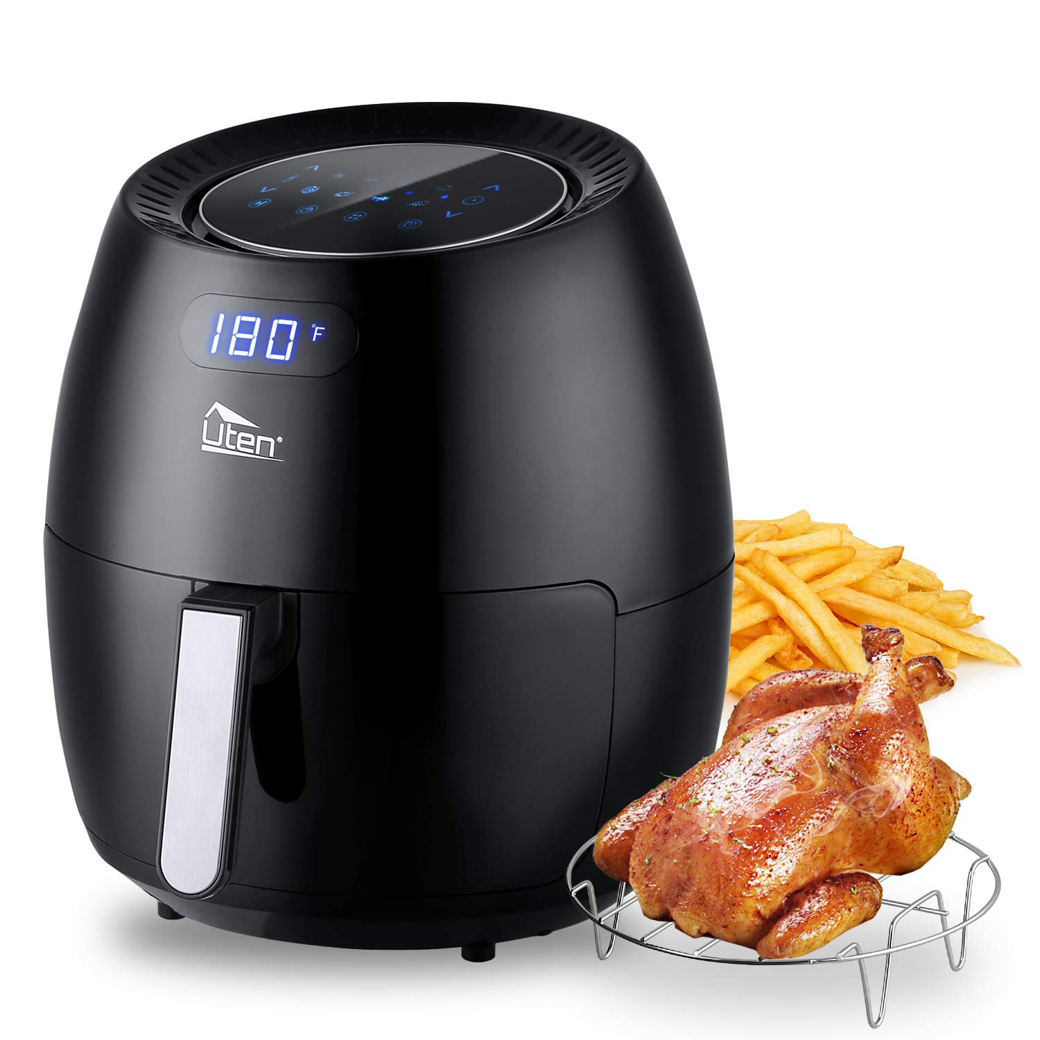 Uten Air Fryer 6.9QT, Electric Non-Stick Air Fryers Oven Oilless Cooker, 8 Cooking Preset, Instant Temp/Time Control, LED Digital Touchscreen - Black