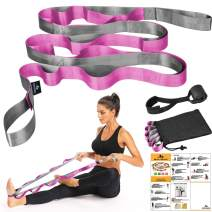 SUMYOUNG Yoga Strap, Stretch Strap with 12 Loops, Nonelastic Stretch Bands for Exercise, Physical Therapy, Pilates, Dance and Gymnastics, Extra Thick, Durable, Comes with Travel Bag and Door Anchor