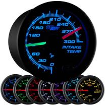 """GlowShift Black 7 Color 300 F Dual Intake Intercooler Temperature Gauge Kit - Includes 2 Electronic Sensors - Red & Green Illuminated Analog Needles - Black Dial - Clear Lens - 2-1/16"""" 52mm"""