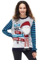 Unisex Women's Christmas Ugly Sweater Funny Xmas 3D Santa Knitted Pullover, Medium