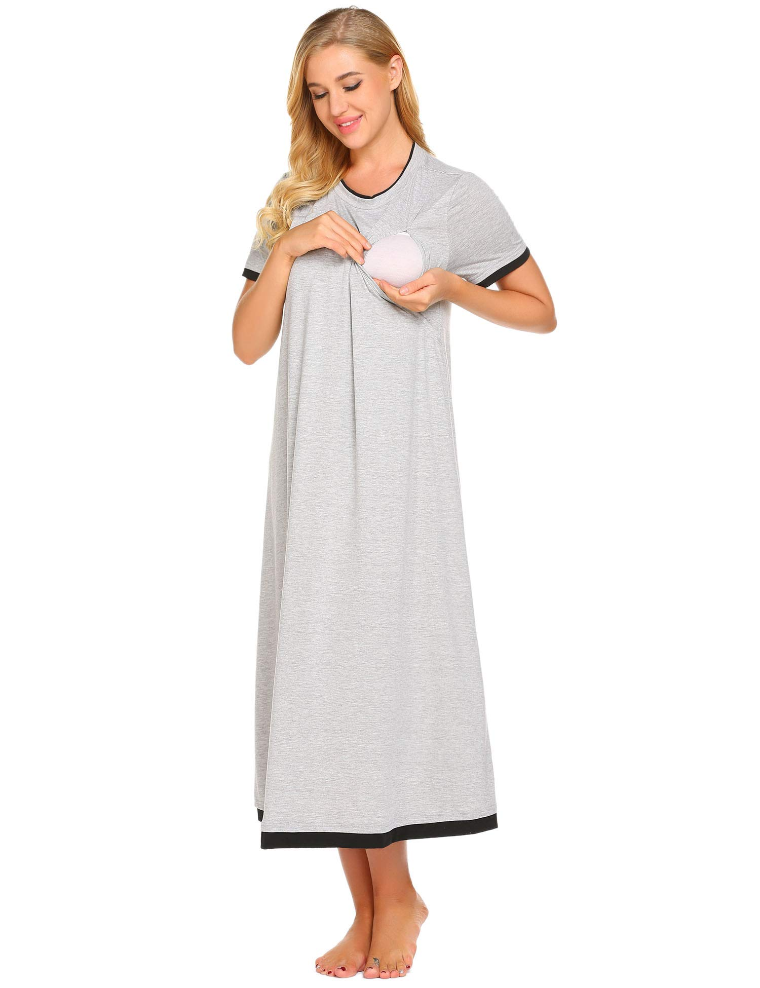 Ekouaer Womens Nursing Nightgown Maternity Sleepwear for Breastfeeding Labor and Delivery Gown
