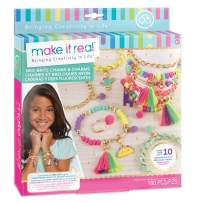 Make It Real - Neo-Brite Chains and Charms. DIY Gold Chain Charm Bracelet Making Kit for Girls. Arts and Crafts Kit to Create Unique Tween Bracelets with Neon Beads, Unique Pom Charms, and Gold Chains