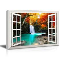 """wall26 - Waterfall in The Forest with Red Trees - Canvas Art Wall Art -32""""x48"""""""