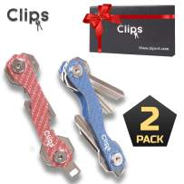 Clips Smart Compact Key Holder Keychain - Made of Carbon Fiber & Stainless Steel- Pocket Organizer Up to 28 Keys- Lightweight, Strong Includes Bottle Opener, Carabiner & More (Blue + Red)