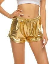 Ekouaer Women's Yoga Hot Shorts Elastic Waist Shiny Metallic Pants Golden Yellow L