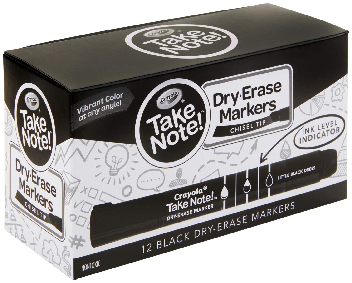 Crayola Take Note Dry Erase Markers, Black Chisel Tip Markers, Office & School Supplies, Kids At Home Activities, 12 Count