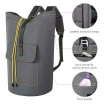 ZERO JET LAG 70L Extra Large Laundry Bag Heavy Duty Backpack with Straps Pockets Hanging Laundry Hamper College Essentials Storage Basket Storage Bag Dorm Home (Light Grey,XL)