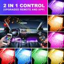 OXILAM Car LED Strip Light, 4pcs 48 LED Multicolor Music LED Car Interior Lights, Wireless Remote and APP Control, Sound Active Function, Under Dash Lighting Kit for iPhone Android Smart Phone