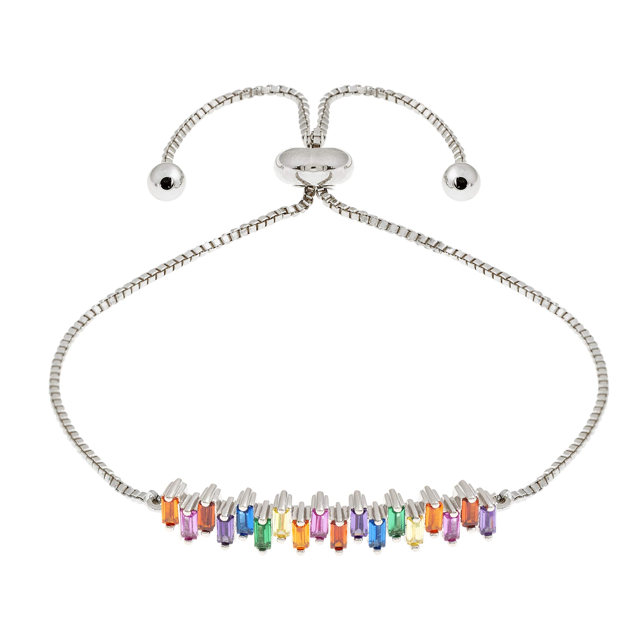 ELEGANT CONFETTI Women's 18K White Gold Plated CZ Simulated Baguette Diamond Rainbow Adjustable Bolo Bracelet
