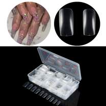 500Pcs French False Nail Tips Fake Full Cover Artificial Acrylic Nails Extension Tips with Storage Box 10 Size for Nail Salon or Home Use by Mpnetdeal (Clear)