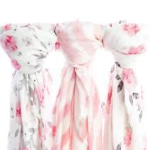 Muslin Swaddle Blankets, 3 Pack Large 47x47in Baby Blanket, Petal