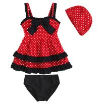 Kid Toddler Baby Girls Bathing Suit Lace Bow Dot Two Piece Swimsuit Swimwear
